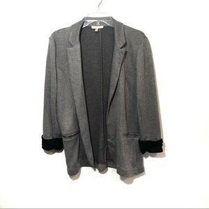 UO skies are blue knit open front blazer jacket